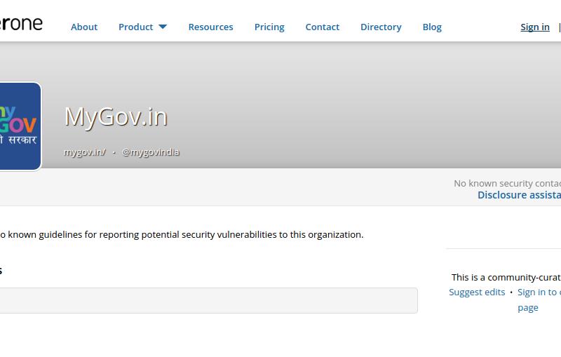 MyGov.in profile at HackerOne