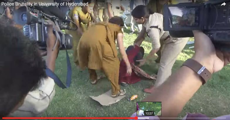 Police brutality at Hyderabad Central University