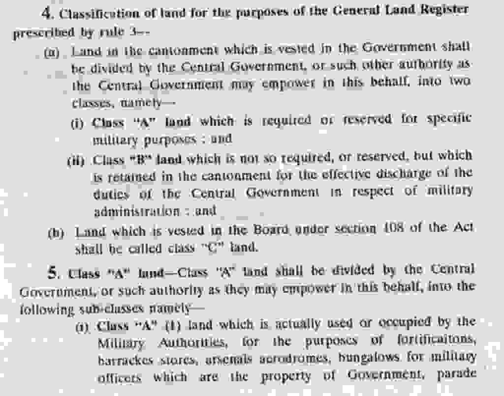 Classification of Cantonment lands as per CLA Rules 1937