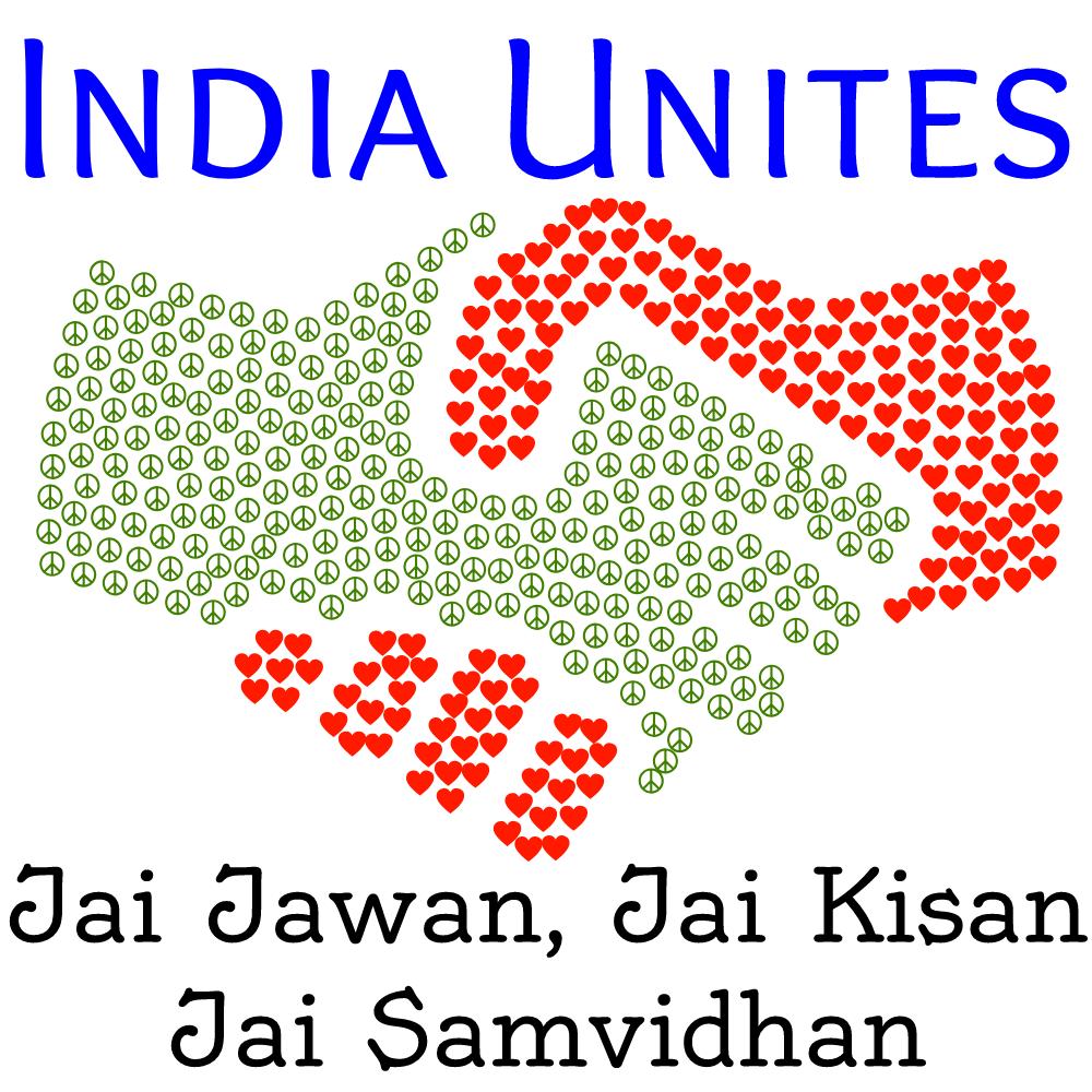 India Unites - Jai Jawan, Jai Kisan, Jai Samvidhan logo