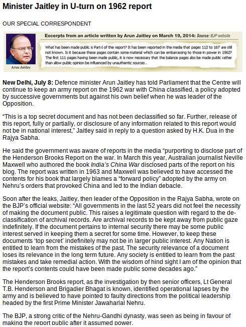 Arun Jaitley's U-Turn on the Henderson Brooks report on the 1962 war