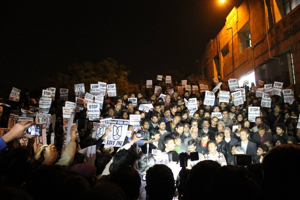 JNU teachers protest against random arrests