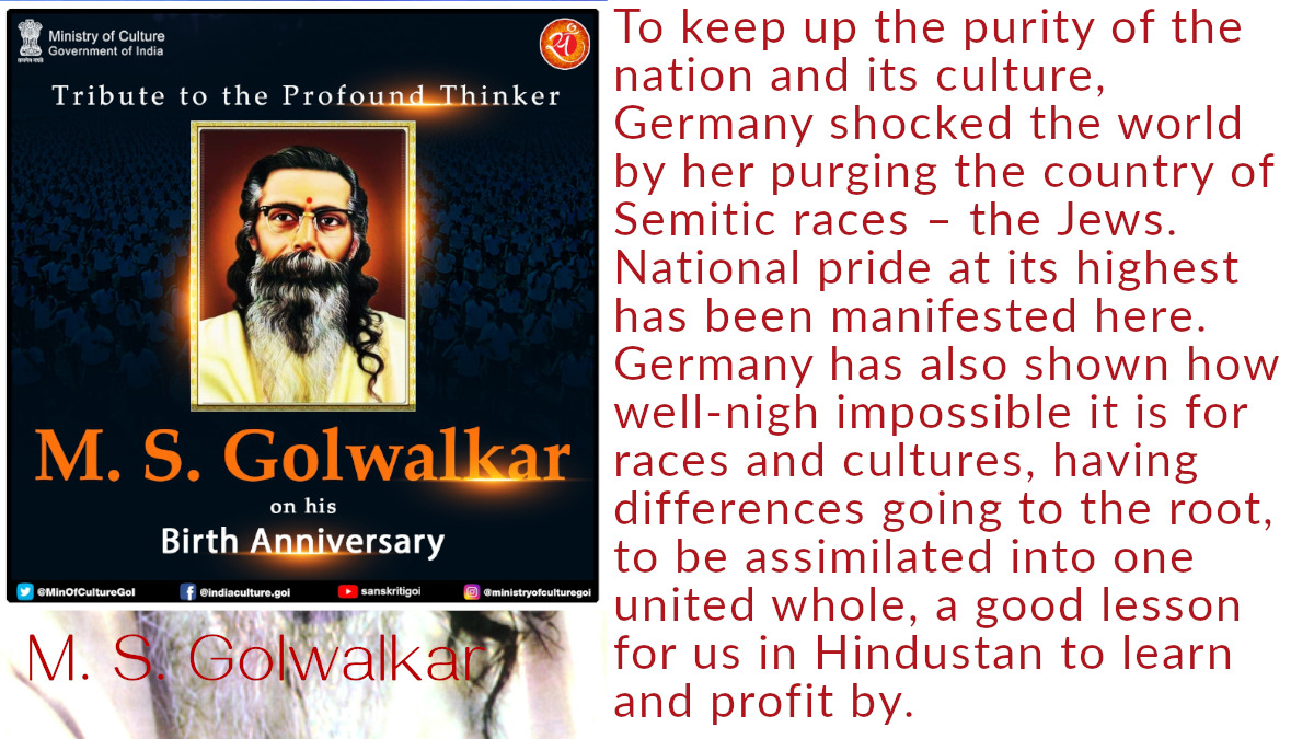golwalkar racist anti-semetic endorsed by government of India