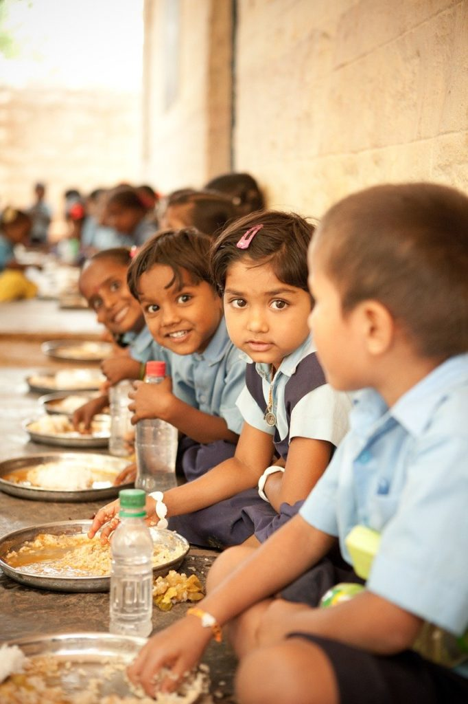 Children eating mid day meal