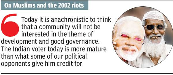 Quotes attributed to Modi by Times of India use words and views not just not used by Modi, but not even similar to his usage of words.