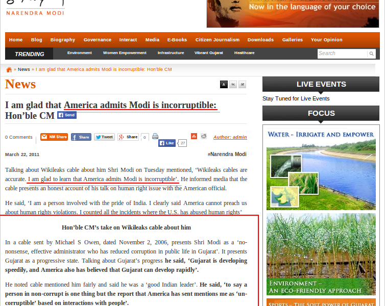 Modi's claims about Wikipedia and the US on his official website