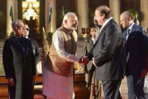 Narendra Modi with Nawa Sharif after swearing in