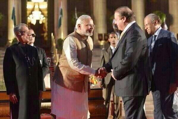 Narendra Modi with Nawa Sharif after swearing in