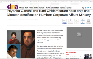 Oops! Priyana Vadra and Karti Chidambaram had only one DIN each
