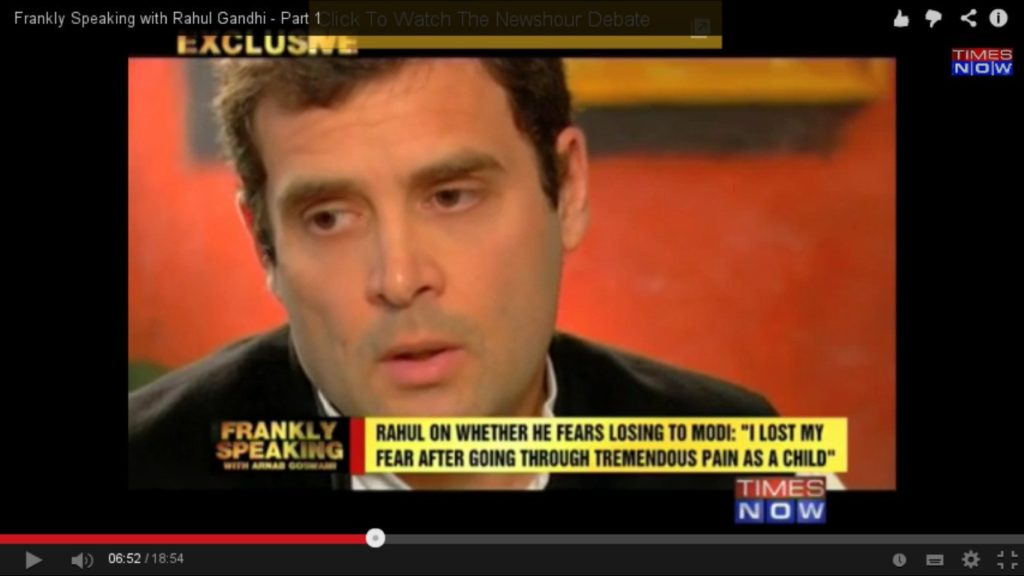 Rahul Gandhi during his interview with Arnab Goswami