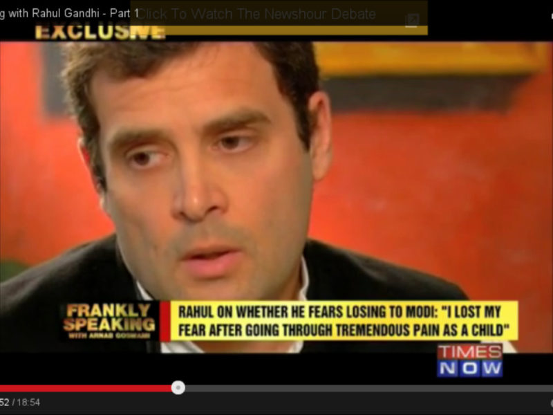 Rahul Gandhi during his interview with Arnab Goswami
