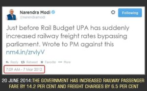 Modi railway hike before and after