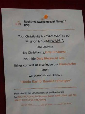 Poster threatening Christians dropped off at prayer house in Bangalore