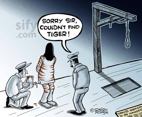Sify.com cartoon on Yakub Memon hanging by Satish Acharya