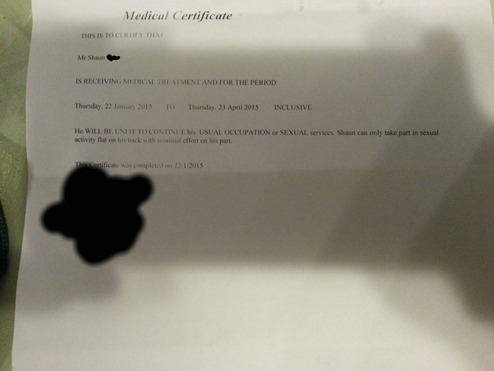 medical certificate for exertion free sex