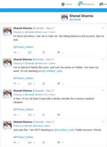 Sharad's denial of trolling from his real account