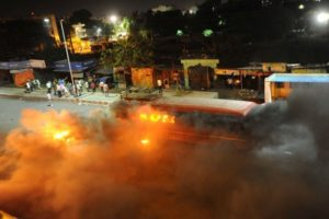Bus burned at Bhosari by Shiv Sena activists