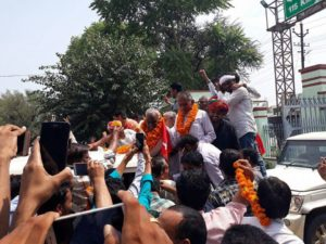 Celebrating victory in Sikar agitation