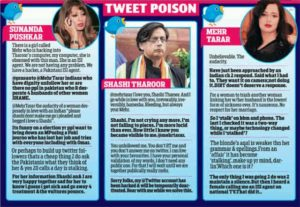 tweets by late sunanda tharoor, shashi tharoor and meher tarar