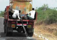 road being cleaned in drought hit yavatmal